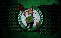 Download wallpapers Boston Celtics, 4k, logo, NBA, basketball, Eastern Conference, USA, grunge, metal texture, Atlantic Division