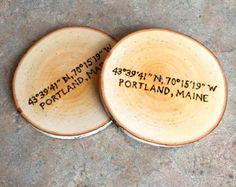 Portland Maine Coaster, Woodburned Maine Coaster, Portland Coaster, Made in Maine Coaster, Wood Burned Portland Maine, Birch Coaster