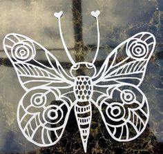 Papercut Template PDF 'Butterfly' Printable PDF Cut by CuriousType