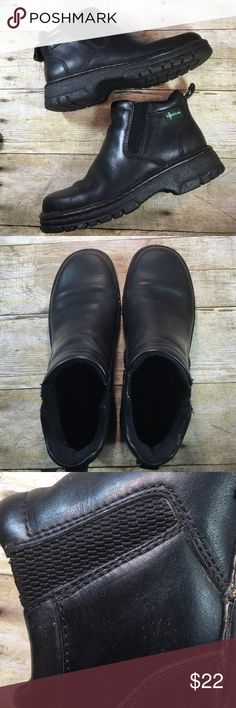 """Eastland Black Leather Booties Size 6 They are in very good condition. Pull on, no Zipper. Pull tab. Non slip sole. 6"""" from bottom of the heel to the top of the boot. They have elastic stretch for all day wear. No holes, rips, stains or tears. Non smoking home Eastland Shoes Ankle Boots & Booties"""