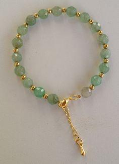 Green jade beaded bracelet pulseira de jade verde