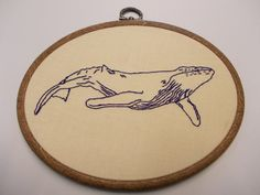 Blue Whale Embroidery Hoop by StillJolly on Etsy, £10.00