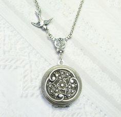 Silver Locket Necklace - Silver Celtic  Garden - Jewelry by BirdzNbeez. $26.00, via Etsy.