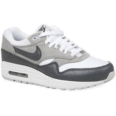 Nike Air Max 1 Essential Trainers ($155) ❤ liked on Polyvore featuring shoes, sneakers, nike, 18. shoes., zapatillas, gray shoes, gray sneakers, white trainers, nike trainers and nike footwear