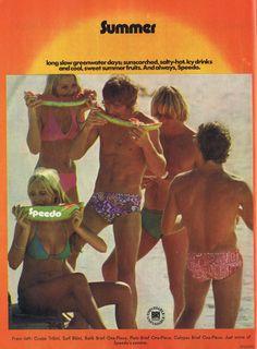 Speedo swimwear advertisement, 1973. Advertising Archives, Retro Advertising, Vintage Advertisements, Vintage Ads, School Advertising, Vintage Newspaper, Vintage Swim, Moustache Ride, Bikini Swimwear