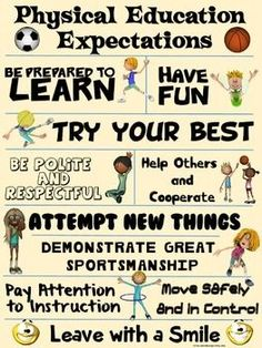 FREE Physical Education Expectations Poster: