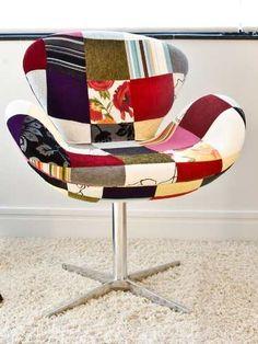 Poltrona Cadeira Sala Sofá Decoração Swan Patchwork - R$ 699,00 no MercadoLivre