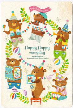 Cute and colorful greeting card for kids with an illustration of happy cartoon bears. Friends Illustration, Cute Animal Illustration, Children's Book Illustration, Character Illustration, Happy Cartoon, Flag Design, Kids Prints, Cute Drawings, Art For Kids