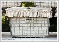 Kaspar Wire Works' gym baskets - good idea for organizing.  Liner made from ikea linen drapes...via Urban Farmgirl.