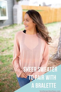 The Becca top is a cozy and chic piece that will make the perfect staple basic to any girl's spring wardrobe. Soft and sleek in a relaxed fit, it can be teamed with denim and wedges for a lovely and casual look. Guaranteed to become your new favorite basic long sleeve! This adorable slightly sheer sweater with be your favorite piece this fall to pair with your black bralette!  It is a soft pink sweater that is comfy and cozy. #sweater #fallsweater #cozysweater #fall #bralette Fashion Group, Curvy Fashion, Boho Fashion, Fashion Outfits, Fashion Trends, Fashion Bloggers, Autumn Fashion Casual, Casual Fall Outfits, Cute Outfits With Leggings