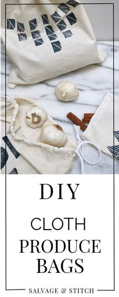 DIY Cloth Produce Bags, eliminate plastic from your life, and go zero waste with these durable cloth bags you can make yourself. Reduce Waste, Zero Waste, Produce Bags, Linen Bag, Fabric Bags, Cloth Bags, Make It Yourself, Stitch, Sewing Projects