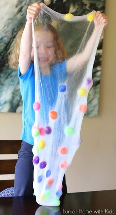 Recipe for an ultra fun and stretchy Polka Dot Slime! Fun at Home with Kids // I'm a teenager but not gonna deny this looks cool. Craft Activities For Kids, Toddler Activities, Projects For Kids, Diy For Kids, Cool Kids, Crafts For Kids, Sensory Activities, Sensory Play, Kids Fun