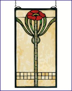 Meyda Tiffany Floral Parker Poppy Stained Glass Window 67789 Features: Glass window Single bungalow red poppy with moss green leaves adorns this cornerstone beige tiffany original stained glass window American classic design ready to complement you Stained Glass Flowers, Faux Stained Glass, Stained Glass Designs, Stained Glass Panels, Stained Glass Projects, Stained Glass Patterns, Leaded Glass, Mosaic Glass, Window Glass