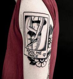 Fool Me Twice Tattoos Custom Design Tattoo Ideas Tattoos 3d, Unique Tattoos, Body Art Tattoos, Cool Tattoos, Tatoos, Piercing Tattoo, Piercings, See Tattoo, Knife Tattoo