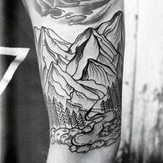 Mountain tattoo. Would like more if slightly more realistic, including the trees.