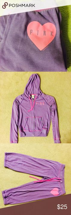 "Victoria's Secret ""Pink Brand"" Track Suit Purple and pink Victoria's Secret. Size Small. Gently worn, some fading on inside of wrist cuffs as shown in the pic. Otherwise in great shape, no rips, or holes. Zipper works great. Really cute color combo. Victroria's Secret  Other"