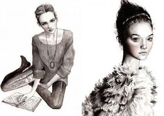 These fashion drawings are by Hanna Mϋller, an Illustrator from Sweden.