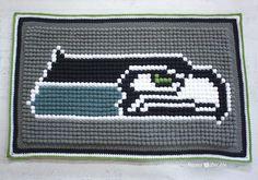 Crochet Bobble Stitch Pixel Blanket (Seattle Seahawks Blanket) - Repeat Crafter Me