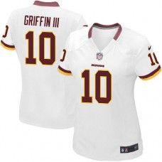 Elite Womens Nike Washington Redskins #10 Robert Griffin III White NFL Jersey