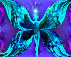 Reiki Art Purple Teal Energy Art Wall Decor Abstract Butterfly Angel 8 x 10 Print - product image