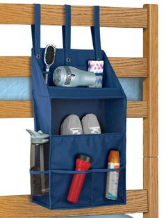 If you know your dorm room comes with bunk beds, you need this hanging organizer to keep all your must-haves handy! Store a book, water bottle, and of course, your PHONE, all within arm's reach. Bunk Bed Organizer, $14.99, containerstore.com