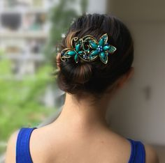 High Quality Rhinestones Hair Clip Vintage Bronze Plating Butterfly Hair Claw Retro Flower Hairgrip Women Hair Jewelry