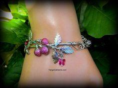 Pink Raspberries  and Butterflies  bracelet by TangoCatGems