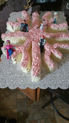 Disney frozen cake simply bake a 13x9 cake and then cute into pieces to create a snow flake