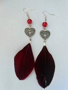 Boucles d'oreille plumes et coeur : Boucles d'oreille par couleur-grenadine33
