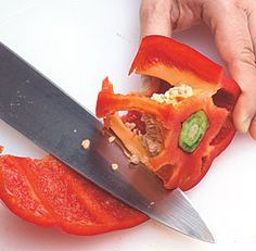 Quick & easy way to cut a bell pepper - this is one of those moments when I feel really dumb.