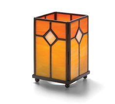 """Hollowick Panel Lamp - 1407OR Panel Lamp, orange stained glass, square, 5-1/4"""" H…"""