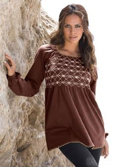 7c82479cdfb5a Embroidered Smock Tee. Square front and back neckline with whip stitch