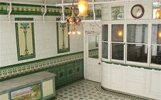 W Plumb Family Butchers, in Holloway: ornate former Edwardian butcher's shop dates from around 1900. Impressively well preserved and beautifully decorated, it features art nouveau wall tiling, a geometric tiled floor, scrolled meat rails and mahogany cashier's booth with etched and brilliant cut glass.