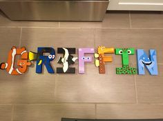 Finding Nemo hand painted letters for kids room. Customized characters for each letter