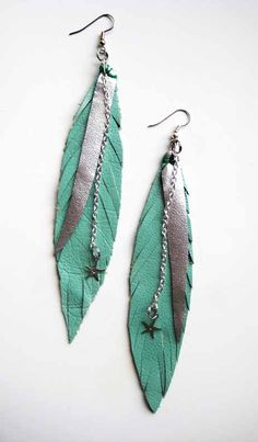 Turquoise leather feather earrings by cliolunia.