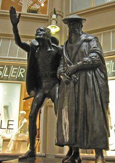 Liepzig : Faust et Mephistopheler, devant l'Auerbach Keller