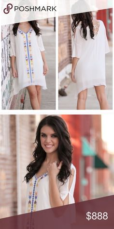 Coming Soon! White Aztec Embroidered Fringe Dress! 🏹White Aztec Embroidered Fringe Dress! Step into summer in this Fresh White Aztec Embroidered Fringe Dress! Beautiful Aztec Embroidery all down the front. Fringe decorates the hem of this dress giving it a sassy little style. Very lightweight for summer - 100% Rayon & Fully Lined. Ties in the back in a zig zag pattern. Sleeves sport a split style. Only have 3 so don't miss out on this one!🏹 Boutique Dresses Asymmetrical