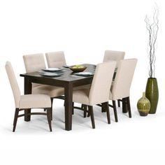 Simpli Home Ezra 7 Piece Dining Set, Beige