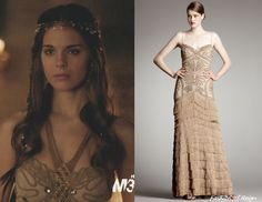 In the fifteenth episode Kenna wears this sold out Robert Rodriguez Black Label Isabella Gown in Camel. Worn with Cecile Boccara headpiece and Vanessa Mooney cuff. Reign Dresses, Prom Dresses, Wedding Dresses, Long Dresses, Reign Episodes, Kenna Reign, Lady Kenna, Reign Mary, Reign Fashion