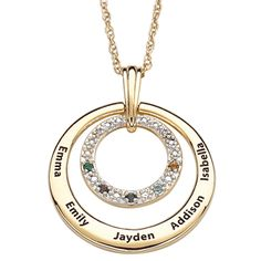 Gold Birthstone Necklace with Kids Names and Diamonds - thinking ahead to Mother's Day...Grandma would love this!  $69.99