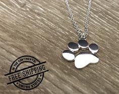 Paw Print Necklace Paw Print Jewelry Cat Paw Necklace Dog