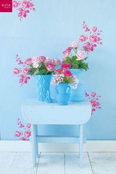 wallpaper roses estahome.nl collection Belle rose #behang #bloemen #stippen