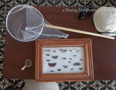 OOAK Victorian Lepidoptera Specimen Case, Magnifying Glass and Butterfly Net in 1 Inch Scale for Dollhouse Miniature Butterfly Collecting. $35.00, via Etsy.