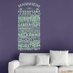 "Wandtattoo ""Stadtviertel Mannheim"" - ab 19,95 € | Xaydo Folientechnik"