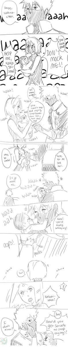 Kakashi, Sakura & Sarada bet it was his eyes probably the same way Sasuke got her to stop