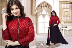 LadyIndia.com # Anarkali Suit, Anarkali Suit Online Laxmipathi Indian Black & Red Straight Salwar Suit, Designer Bollywood Style Dress, Anarkali Suit, Floor Length Anarkali, https://ladyindia.com/collections/ethnic-wear/products/laxmipathi-indian-black-red-straight-salwar-suit