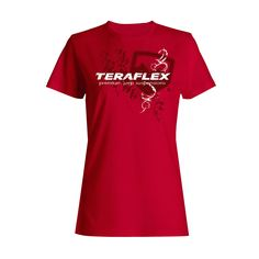 The TeraFlex Ladies Tee features a stylish distressed graphic logo on red. •50% preshrunk cotton / 50% polyester construction. •Ladies X Large.