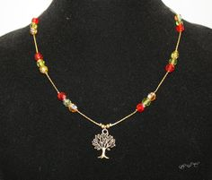 Autumn Antique Bronze Tree Necklace with Multi Colour Czech Fire Polished Red, Green and Topaz Beads by EmeraldaCrystal on Etsy