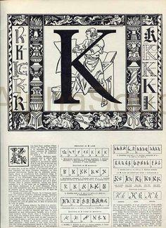 Illustrative Alphabet Letter K Typography Calligraphy French 1920's Original Antique Illustration $10