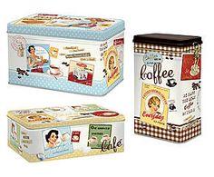 Set di 3 barattoli in latta Vintage - caffe'/biscotti/zucchero